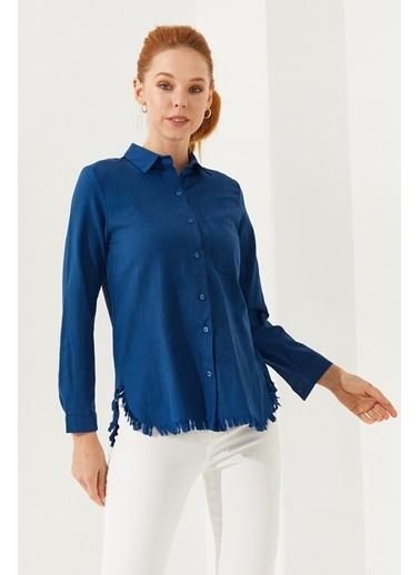 Reyon Püsküllü Pamuk Kadın Gömlek Hardal Mavi